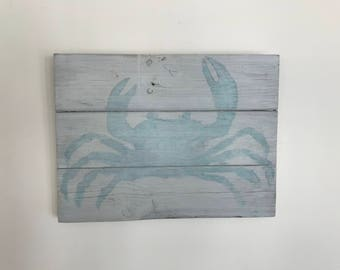Watercolor Blue Crab Sign // Custom // Gifts for Her // Gifts for Him // Wedding // Pallet // Maryland // Beach // Bay // Crab Sign