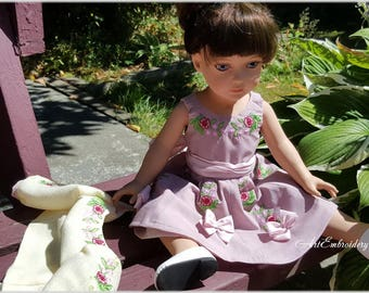 Pink Bow -  Floral Retro Dress and Jacket Outfit of 1950's style with Machine Embroidery for 18 inches Doll, Doll Clothes