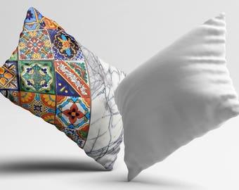White Marble PillowCase Moroccan Tile Throw Pillow Cover Geometric Pillow Decorative Silk Pillow Cover Her Gift Mom Satin Pillow Home Decor