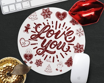 Love You Mouse Pad Christmas Gingerbread Cookie Mouse Mat Xmas Gift for Girlfriend MousePad Desk Accessories Cute Mouse Pad Heart Mouse Mat