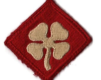 Vintage WW2 WWII 4th Army Military Patch - White 4 Leaf Clover on Red - 2 x 2 inches