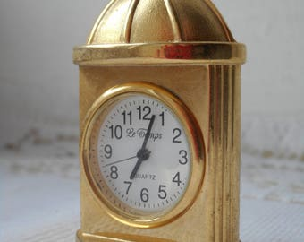 stunning vintage French Le Temps brass / metal miniature clock