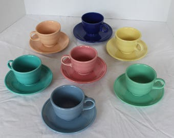 Set of 7 - Vintage Fiestaware Cups and Saucers, Retired Colors, Fiesta Dishes, Shower Décor, Collectors, Homer Laughlin (C229)
