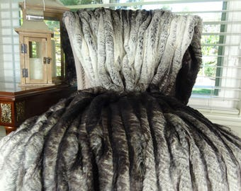 Faux Fur Blanket - Tissavel Chocolate Brown Ivory Faux Fur Throw Blanket/Bedspread - Ombre Fur Blanket - Ombre Fur Bedspread- 16449