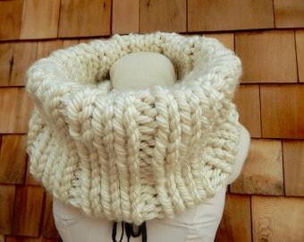 Chunky Knit Scarf Cowl Neck Warmer Cream Scarf