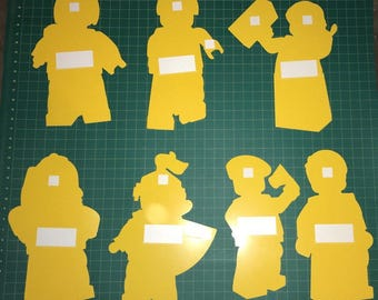 7 LEGO Cutouts Styrene Full Color 7 Different Characters 1 unit broken listing for full lot