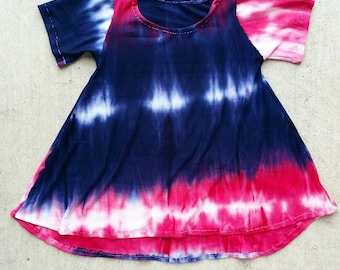 READY TO SHIP 3/6 months flawed red white and blue tie dye dress