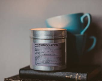 Mad Hatter's Tea Party - Hand poured soy candle - Alice in Wonderland - made in Ireland - jasmine tea - fudge - aniseed