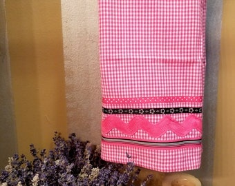 Embellished Hand Towel, Pink Gingham Hand Towel, House Warming Gift, Kitchen Towel, Decorated Hand Towel, One of a Kind, MarjorieMae