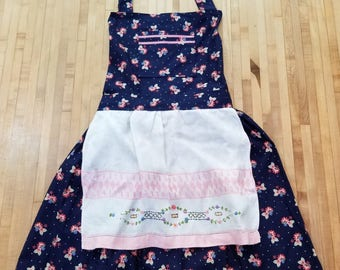 Navy Polka Dot and Floral Apron, Vintage Linen Apron, UpCycled Vintage Linen, Navy White and Pink, Full Apron, MarjorieMae
