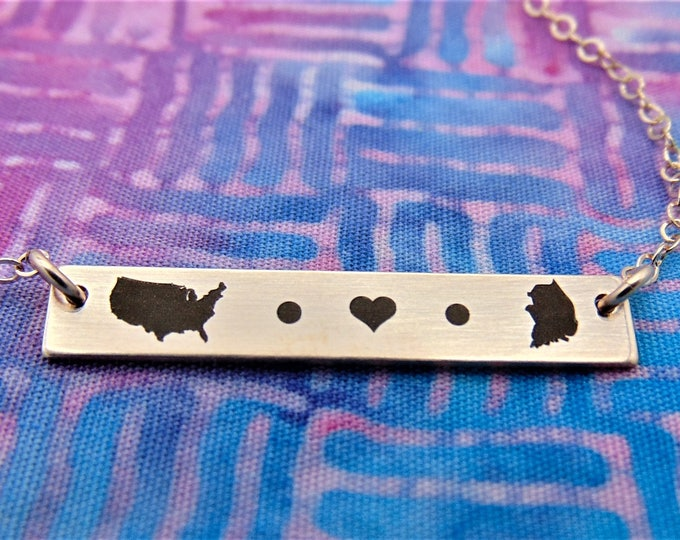 Adoption bar necklace. From One State to Another State Or Country to Country Personalized adoption jewelry, new mom, adoption gift