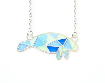 Blue Geometric Manatee 99.9 Fine Silver Plated Necklace natelledrawsstuff