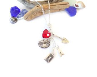 PRETTY LITTLE LIARS  Mask inspired silver charm necklace fan gift got a secret tv series best friends jewellery Uk