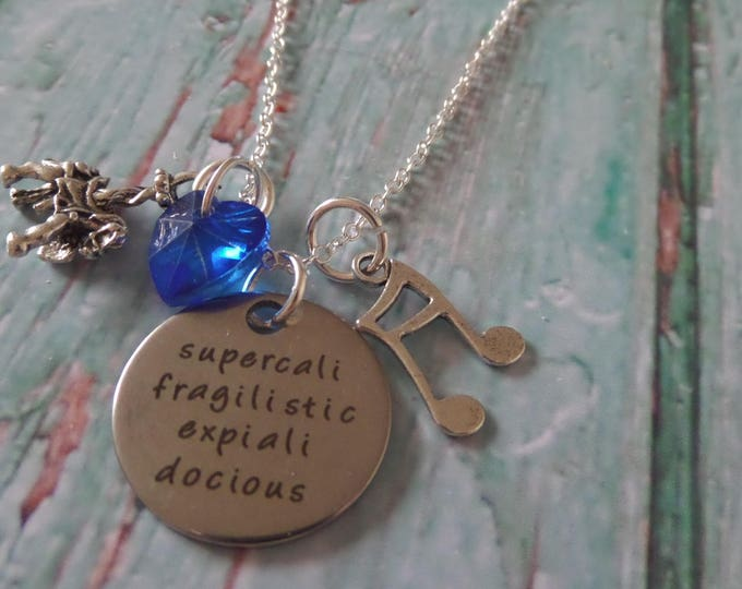 """MARY POPPINS themed """" supercalifragilisticexpialidocious """" silver chain necklace carousel horse umbrella fan gift jewellery Uk"""