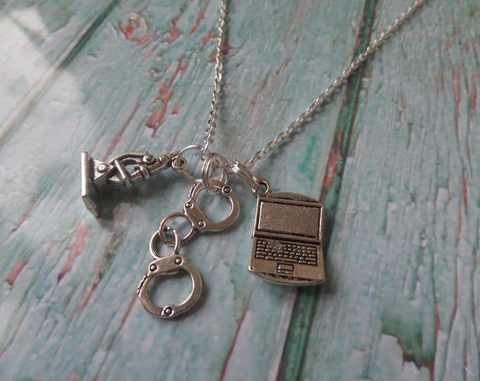 NCIS CSI inspired silver tone necklace Crime Scene Investigation fan gift Xmas Jewellery gift Uk