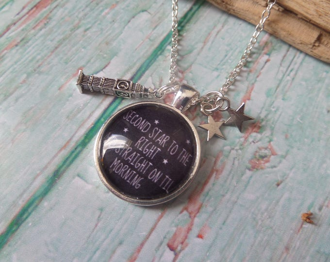 "PETER PAN inspired quote ""Second Star to the right & straight on till morning"" 25mm glass dome necklace fan gift jewellery Uk"
