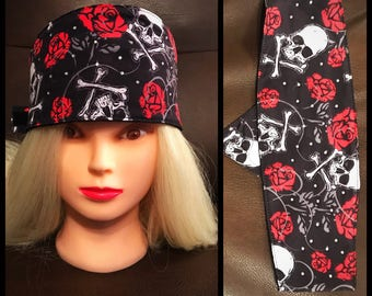 Skull & Rose Touch Fastener Headband