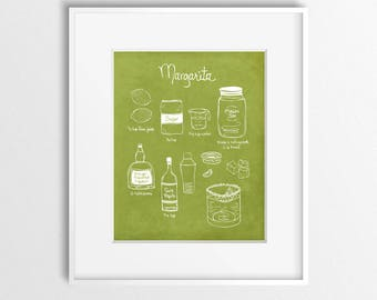 Marg Time - Illustrated Margarita Recipe Art Print
