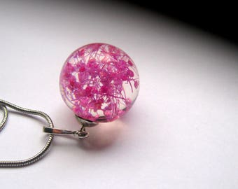 resin Ball pendant with real dried flowers