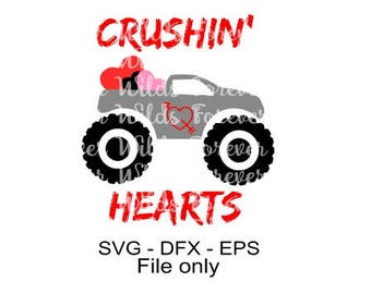 Boy Valentine SVG - Crushing Hearts Svg - Valentines Day svg - Valentine Shirts for Boys - svg for cricut silhouette - truck svg cutting