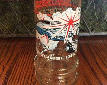 Taco Bell Star Trek III 1984 Drinking Glass, Tumbler, 80's Star Trek III The Search for Spock, Enterprise Destroyed Star Trek Movie Glass