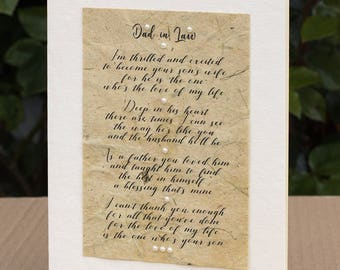 Wedding Poem from the Bride to her New Father in Law, Father in Law Poem Card, Father of the Groom Card, Wedding Card, Father in Law Gift