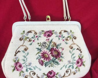 Vintage Embroidered Petite Point Purse Shabby Floral Rose Ivory Hand Bag