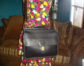 Black Leather Coach Legacy Top Carry Cross Body Bag