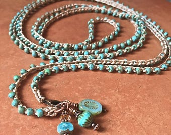 Two or three x wrap crochet necklace-boho crochet necklace- Turquoise picasso beads, layering crochet necklace, bohemian crochet jewelry