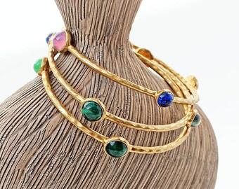 Vintage Hammered Brass Bangle, Stacking Bracelets, Set of 3, Set with Antique Glass Cabochons