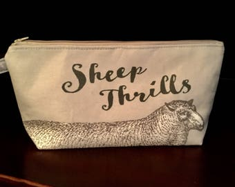 Sheep Knitting project bag, Cotton Linen Canvas, Taupe
