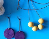 ceramic bead necklace, mustard color necklace, mustard and brown necklace, ceramic necklace, minimalist bead necklace, minimalist jewelry