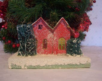 Vintage Mica Putz Coconut Paper Christmas House, Japan