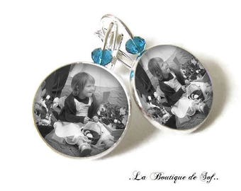 To personalize * 925 Sterling Silver: Stud Earrings with 18 mm cabochon