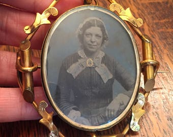 Large Antique Victorian Double Ambrotype Photographs Swivel Brooch Rolled Gold