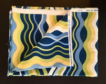 "Vintage Mod Fabric Upholstery Original Screen print by John Wolf for Richloom USA Canada Blue Green Yellow 54"" x 68"""