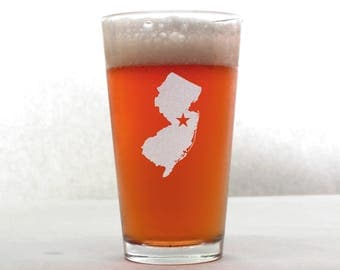 New Jersey Beer Glass - State Pint Glass - Pint Glass - Personalized Pint Glass - Etched Pint Glass - Groomsmen Pint Glass