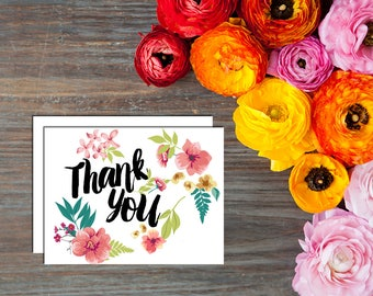 Beautiful Floral Thank You Card with Envelopes - Set of 12