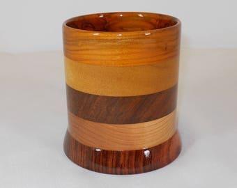 Wood Pencil Holder, Wooden Pen Cup, Office Desk Organizer (#163)