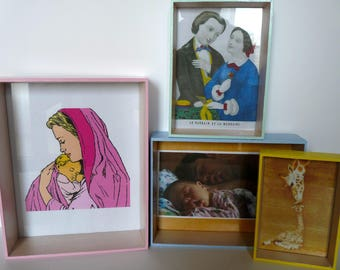 Set of 4 frames pictures in different colors and sizes