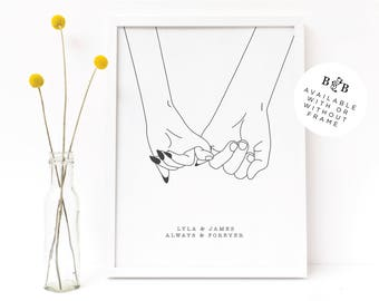 Pinky Promise Illustrated Love Print | 8X10 Personalised Wedding Gift | Love Illustration | Valentines Day Gift | Anniversary Gift