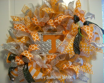Tennessee Wreath, Deco Mesh Wreath, UT Vols Wreath, University of Tennessee, Football Wreath, College Dorm, Football Decor, College Decor