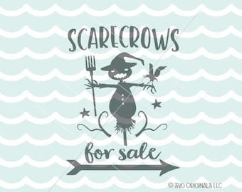 Scarecrow SVG Fall SVG File. Cricut Explore & more. Scarecrows For Sale Halloween Fun Sign Fall Autumn SVG