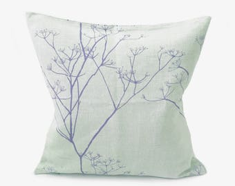 Printed Linen Pillow- Purple- Botanical- Trees- Leaves- Branches- English Pillow- Aubergine- Beige- Country Cottage- Throw Pillow- Colourful
