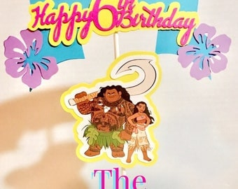 Moana Cake Topper, Hawaiian Party, Luau Cake Party, Cake Topper, Party Supplies