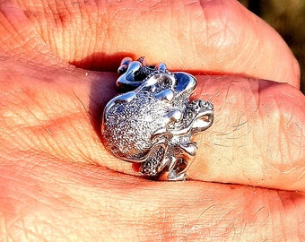 Small Octopus ring 2 with stone (cirkonia) free shipping