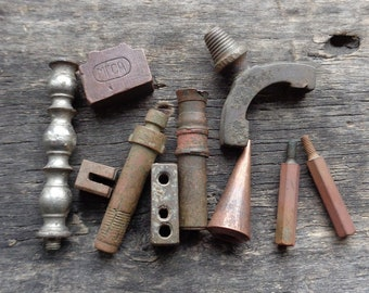 Parts of old hardware/equipment/fittings 19-20th century Brass-Bronze-Copper Steampunk/Dieselpunk components Original patina  -SET of 10-