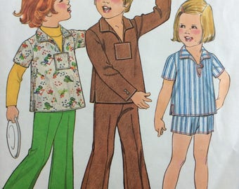 Simplicity 8284 child's pants, shorts & pullover top size 4 vintage 1970's sewing pattern