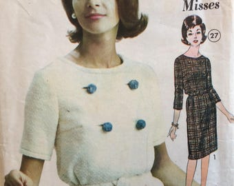 Advance 3125 misses dress size 12 bust 32 vintage 1960's sewing pattern  Uncut  Factory folds
