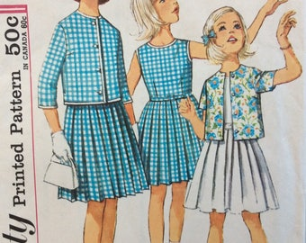 Simplicity 4917 girls dress & jacket size 10 vintage 1960's sewing pattern